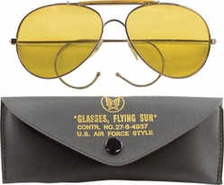 Очки пилота Aviator Sunglasses w/ Case - Yellow Lenses